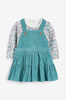 Cord Pinafore Dress And Floral Jersey Bodysuit (0mths-2yrs)