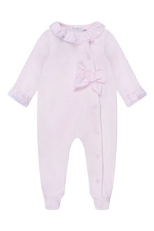 Girls Pink Velour Bow Babygrow
