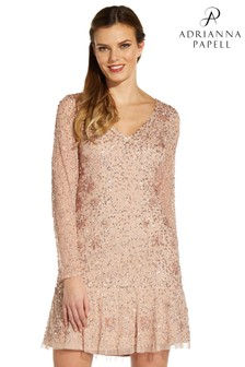 Adrianna Papell Pink Beaded Cocktail Dress