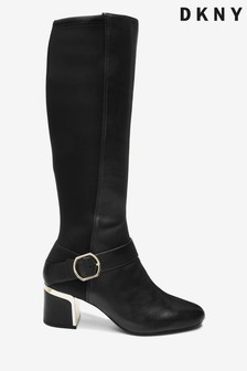 DKNY Black Leather Ciara Knee High Boots