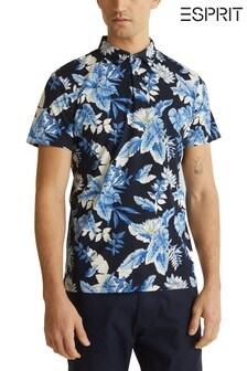 Esprit Blue Flower Print Poloshirt