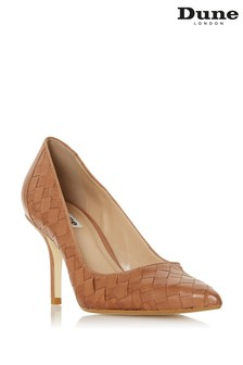 Dune London Bowe Tan Leather Woven Pointed Toe Mid Heel Court Shoes