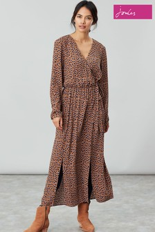 Joules Brown Chloe Fixed Wrap Dress