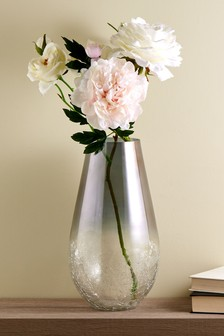 Large Ombre Crackle Glass Vase