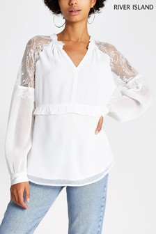 River Island Cream Aurelia Lace Top