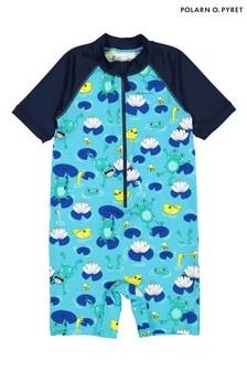 Polarn O. Pyret Blue Sunsafe Frog Print Swimsuit