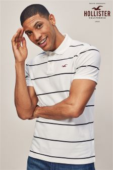 Hollister White Stripe Poloshirt