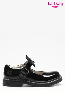 Miss LK Black Patent Bow Dolly Shoes
