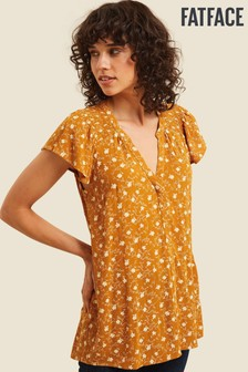 FatFace Yellow Helena Trellis Floral Longline Top