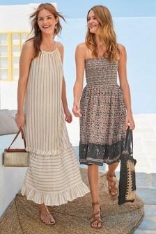 Bandeau Shirred Short Dress
