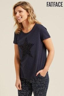 חולצת טי עם כוכב של FatFace בצבע כחול