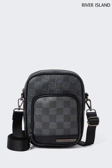River Island Black Square Monogram Cross-Body Bag
