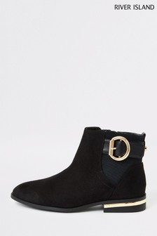 River Island Black Buckle Boots