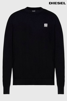 Diesel® Black Long Sleeve Crew Neck T-Shirt