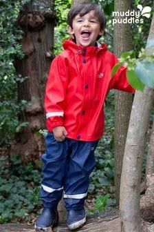 Muddy Puddles Red PU Rainy Day Jacket & Trousers Set