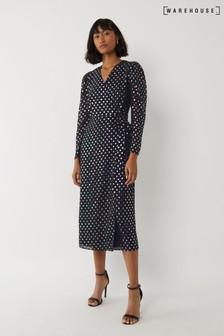 Warehouse Black Foil Spot Midi Wrap Dress