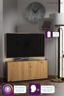 Frank Olsen Smart LED Grey and Oak Corner TV Unit