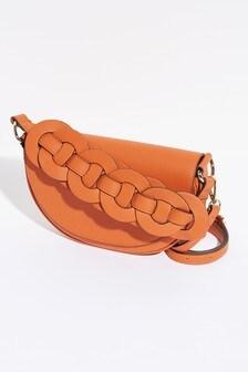 Weave Detail Across Body Saddle Bag