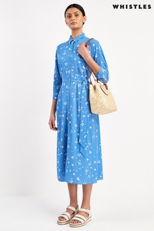 Whistles Blue Watercolour Animal Side Tie Midi Dress