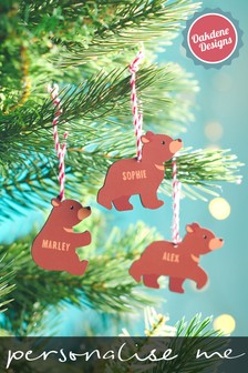 Personalised Children's Bear Family Baubles by Oakdene