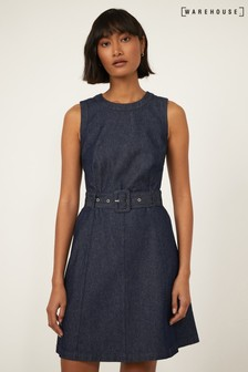 Warehouse Blue Sleeveless Belted Swing Dress