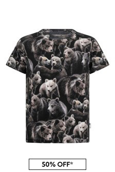 Boys Bear Print Organic Cotton T-Shirt