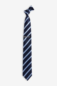 Stripe Tie And Tie Clip Set