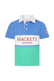 Hackett London Kids Boys Blue Cotton Rugby Shirt
