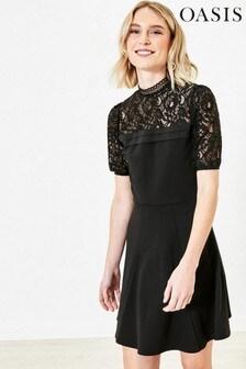Oasis Black Lace Pintuck Skater Dress