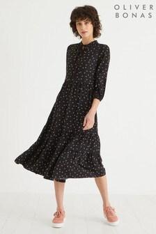 Oliver Bonas Tie Neck Spot Print Tiered Dress