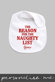 Personalised Reason For The Naughty List Bib