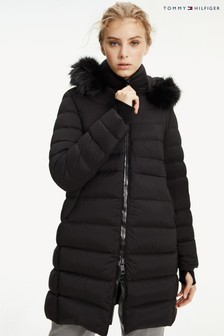 Tommy Hilfiger Black Pamela Stretch Down Coat