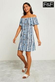 F&F Blue Bardot Button Through Tie Dye Dress
