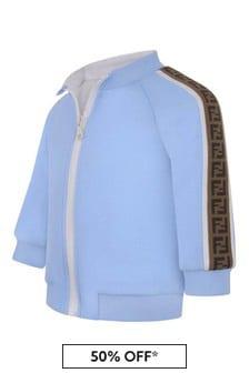 Fendi Kids Baby Boys Blue Logo Trim Zip Up Top