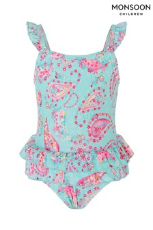 Monsoon Blue Baby Paisley Print Frill Swimsuit