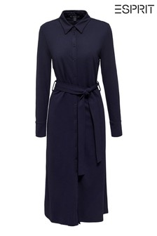 Esprit Blue Long Shirt Dress With Tie Waistband