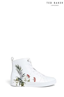 Ted Baker White Floral High Trainers