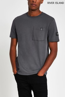 River Island Grey Dark Slim Prolific Pocket T-Shirt