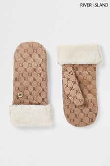 River Island Stone Faux Suede Embossed Mittens