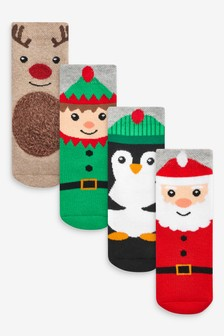 4 Pack Full Terry Cotton Rich Christmas Socks (Younger)