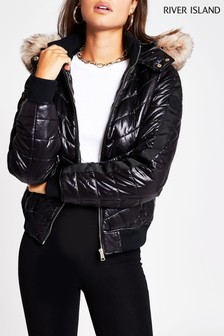 River Island Black Arctic Faux Fur Padded Bomber Jacket