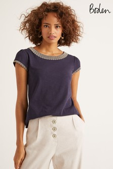 Boden Blue Sena Embroidered Jersey Top