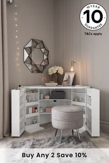 White Gloss Corner Dressing Table