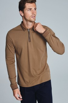 Long Sleeve Zip Neck Polo
