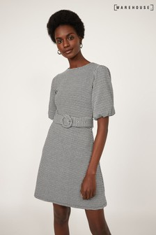 Warehouse Black Gingham Puff Sleeve Dress