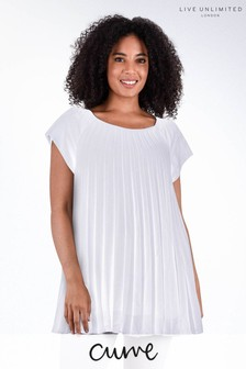 Live Unlimited Curve Ivory Pleated Top