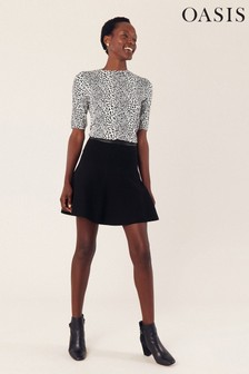 Oasis Black Kate Flippy Mini Skirt