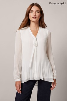 Phase Eight Cream Lily-Beth Tie Pleat Blouse