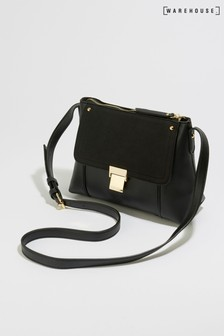 Warehouse Black Clasp Detail Cross Body Bag