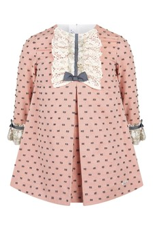 Girls Pink Cotton Lace Trim Dress